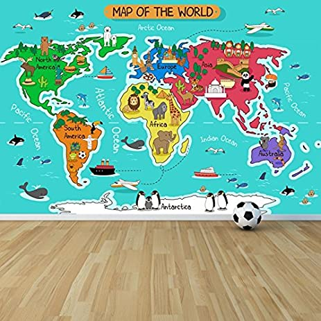 Amazon cartoon animal world map wall mural map photo wallpaper cartoon animal world map wall mural map photo wallpaper kids bedroom home decor available in 8 gumiabroncs Gallery