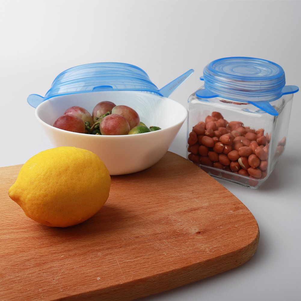 mockins 12 Pack Silicone Covers | 5 Silicone Stretch Lids & 7 Suction Lids | The Reusable Silicone Huggers are Expandable To Fit Various Unique Shapes & Sizes To Keep Your Food Fresh & Tasty - Blue by Mockins (Image #6)
