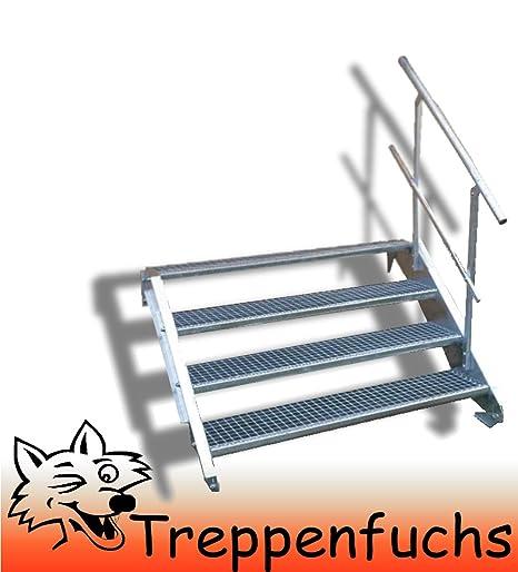 Freistehende Standtreppe Stahltreppe 3 Stufen//Breite 100cm H/öhe 63cm Schwarz//Stabile Industrietreppe f/ür den Au/ßenbereich