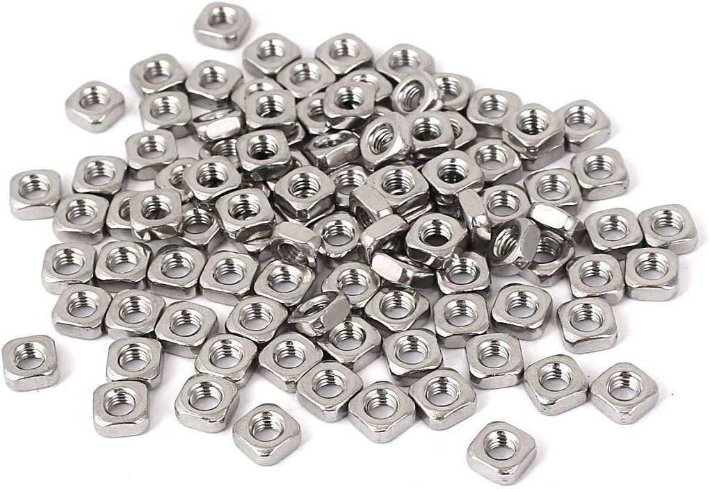 MroMax M5x8x4mm 304 Stainless Steel Square Machine Lightweight Screw Nuts 10pcs Sliver tone