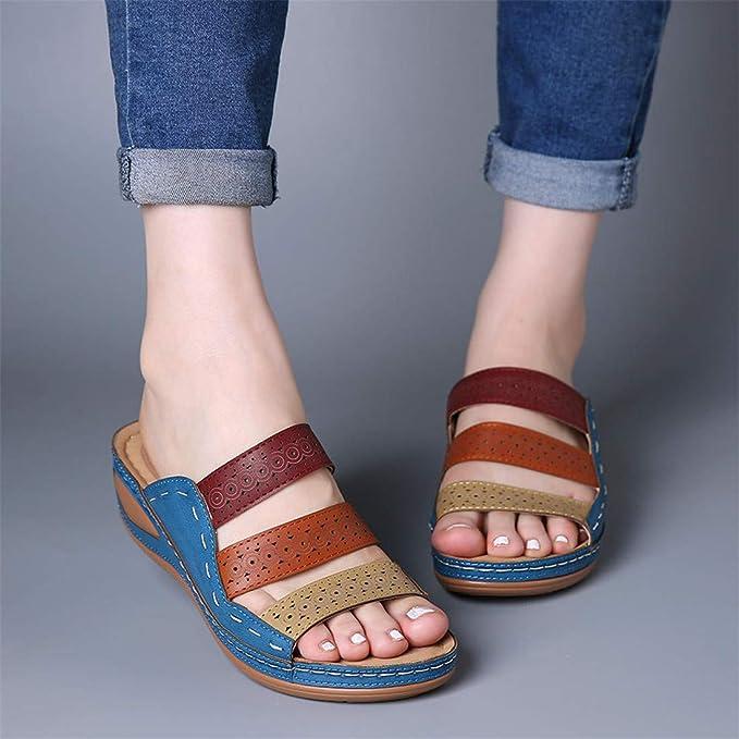 Trolimons Womens Peep Toe Sandals Summer Solid Casual Wedge Platform Shoes Ladies Bottom Beach Fashion Walk Shoes