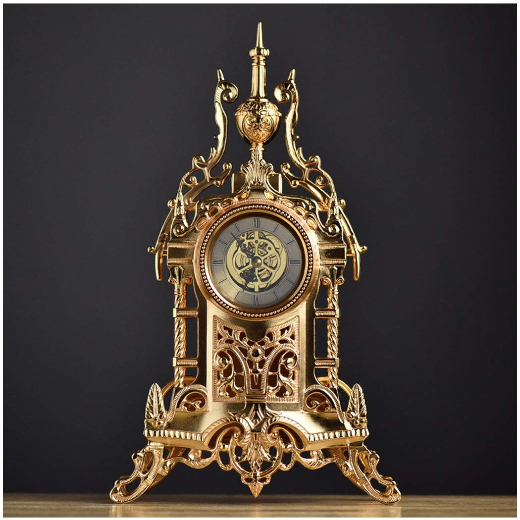 HONGNA European Creative Living Room Clock Fashion Retro Design Bedside Clock Office Clock Fashion Table Clock All Metal 3434.5CM (Color : Gold)