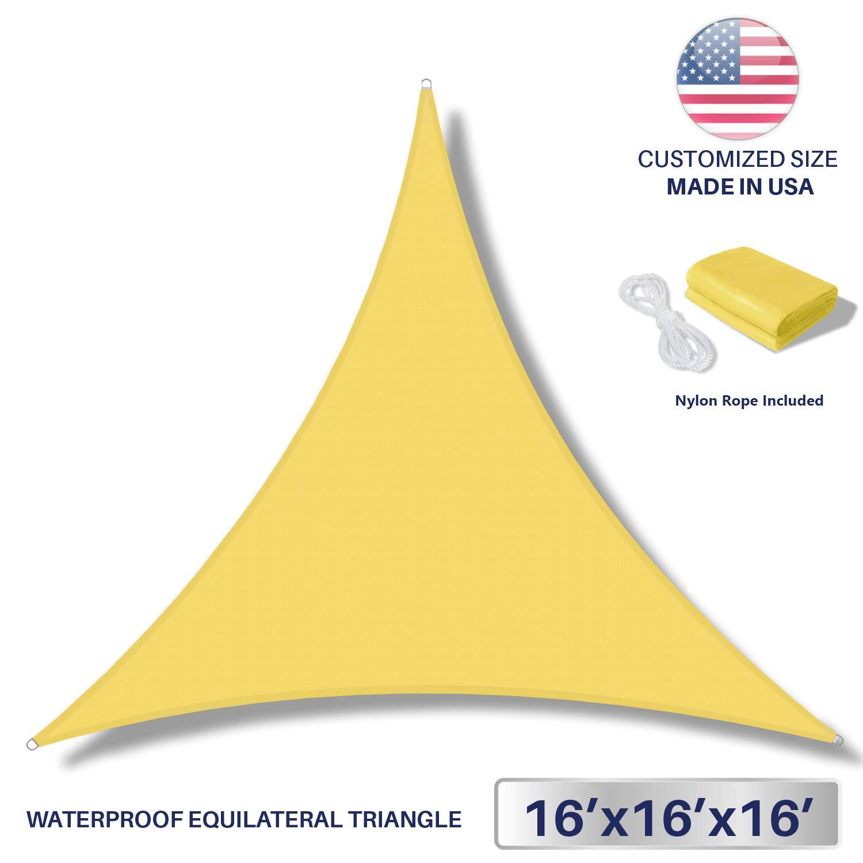 windscreen4lessテリレン防水サンシェードUV Blocker三角形サンシェードパティオキャノピーSail 16' x 16' x 16' WS-SW161616T B0115Q4NX2 16' x 16' x 16' イエロー イエロー 16' x 16' x 16'