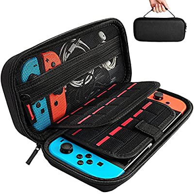 Hestia Goods Carrying Case for Nintendo Switch with 20 Game Cartridges, Protective Hard Shell Travel Carrying Case Pouch for Nintendo Switch Console & Accessories, Black