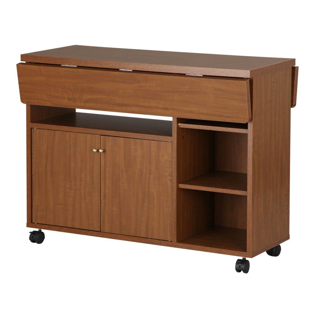 キッチンワゴン 日本製 キャスター付き 木製 調理棚 カウンター バタフライワゴン 作業台 収納 台 ブラウン B00UYSX3FW お客様組み立て|ブラウン ブラウン お客様組み立て