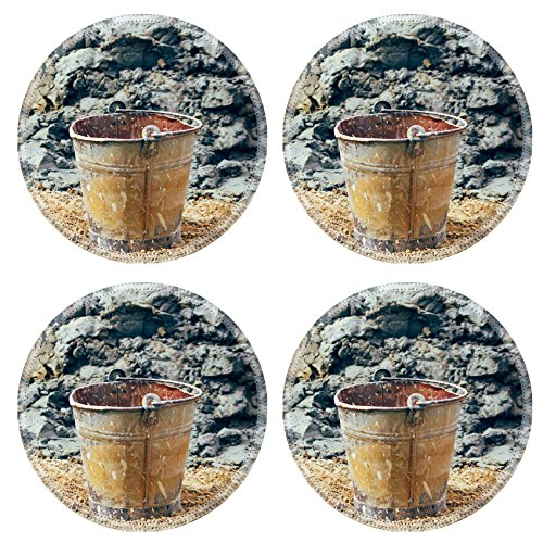 Liili Round Coasters Old rusty bucket in the field by the pile of mud and soil Retro vintage filter with vignette slightly effect 28351646 (Rusty Bucket)