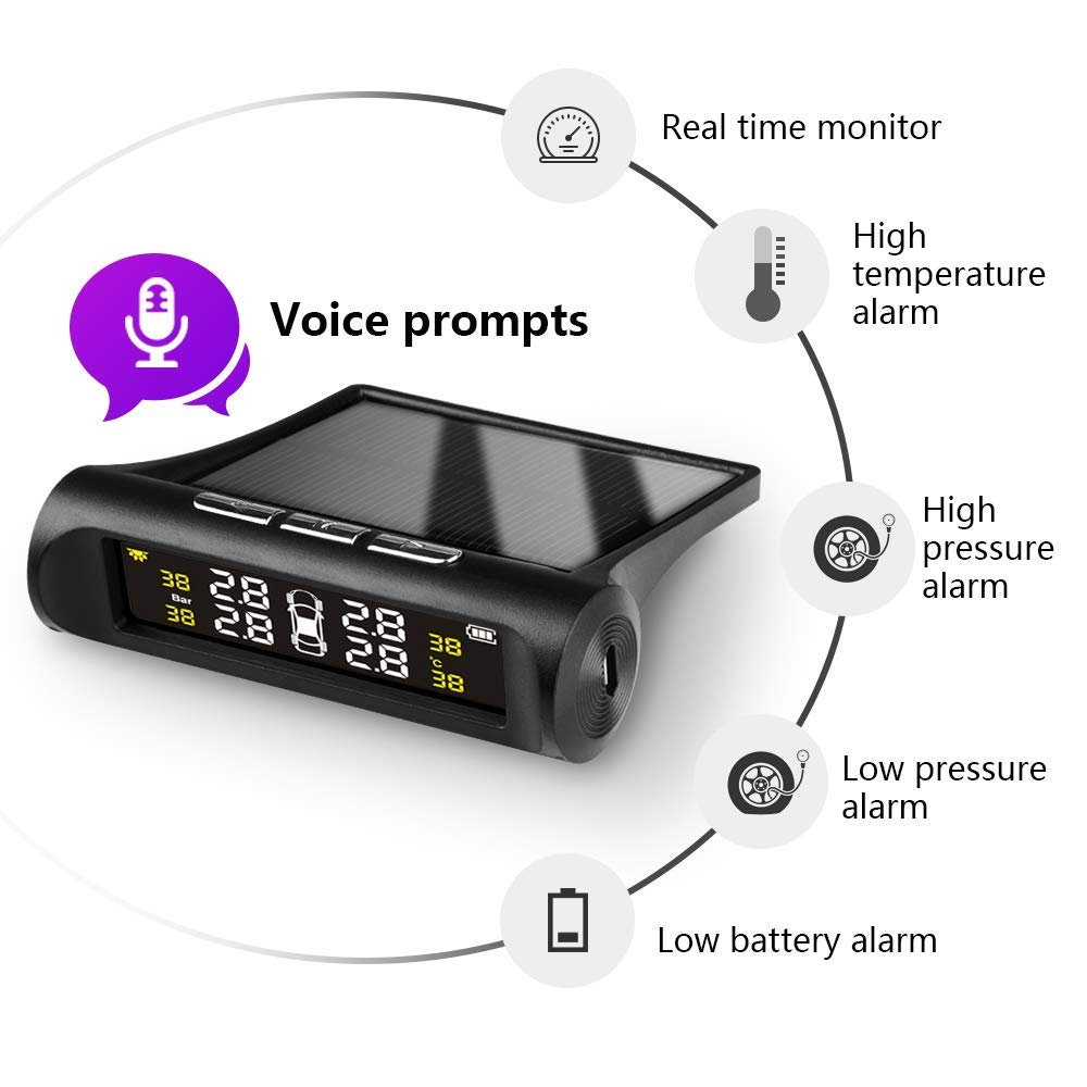 Solar Power TPMS Tire Pressure Monitoring System with 4 External Cap Sensors Real Time Pressure /& Temperature Alerts Jansite Tire Pressure Monitoring System Voice Wireless Smart Tire Safety Monitor