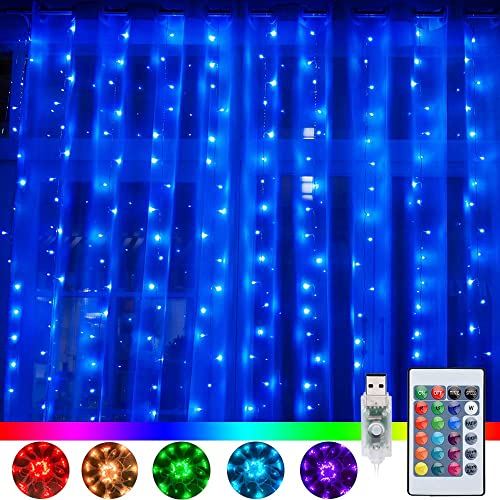Ollny Window Curtain Lights 240 LED 16 Colors Changing Fairy Twinkle String Lights USB Powered with Remote for Bedroom Backdrop Wedding Party Home Garden Wall Indoor Outdoor Decorations