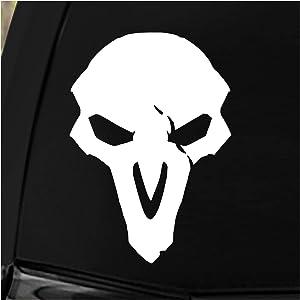 """JINX Overwatch Reaper Car Window Die Cut Vinyl Decal Sticker, White, 4.5""""x5"""""""