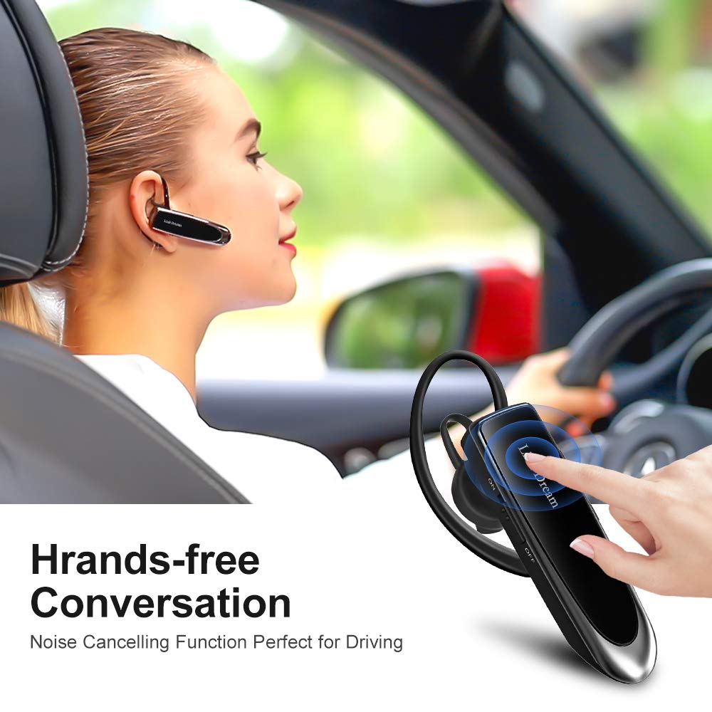 Bluetooth Earpiece Link Dream Wireless Headset with Mic 24Hrs Talktime Hands-Free in-Ear Headphone Compatible with iPhone Samsung Android Smart Phones, Driver Trucker (Black) by Link Dream (Image #2)