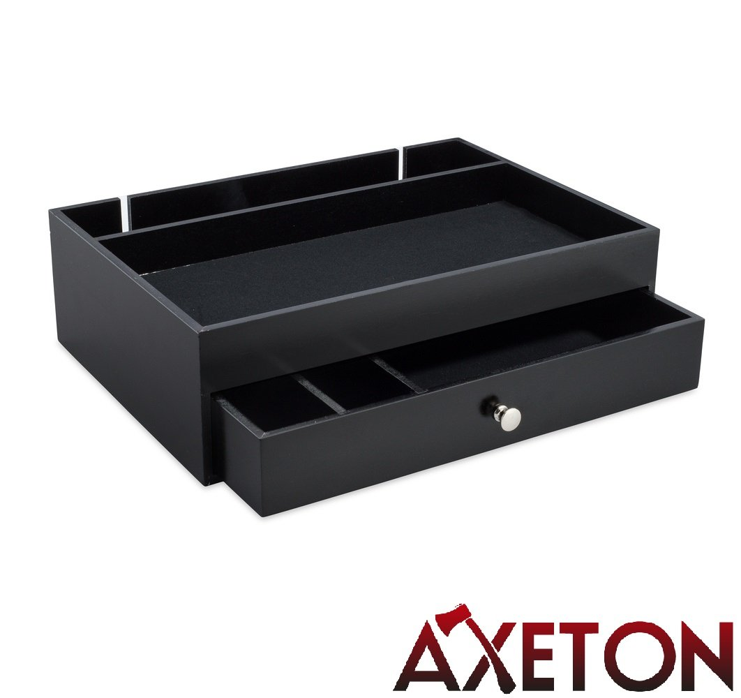 Axeton Men's Dresser Top Valet Nightstand Caddy, Wallet, Key and Jewelry Organizer Tray with Drawer and Charging Station, Wood, Black by Axeton