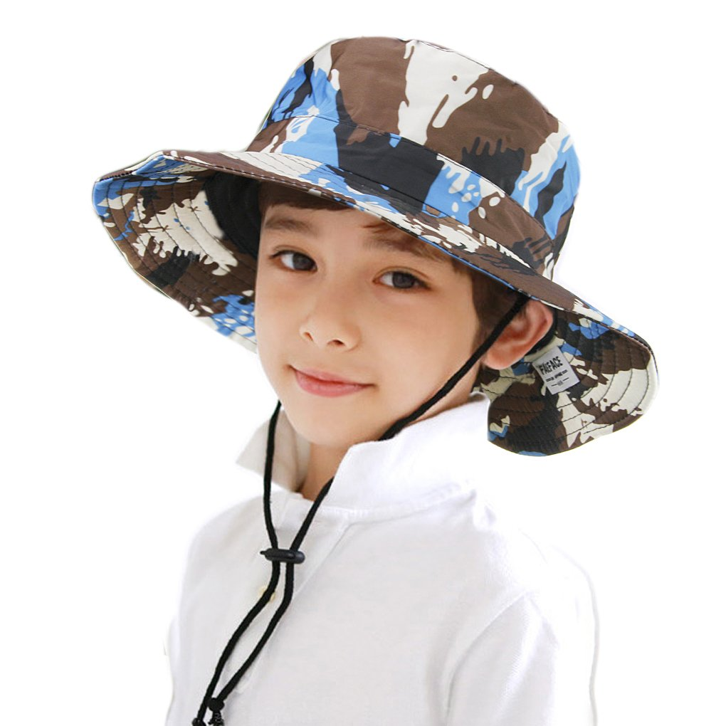 Outdoor Kids Camo Bucket Big Brim Hat UPF50+ UV Ray Sun Protection Boys Sun Hat MioCloth