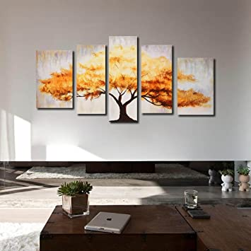 999store Multiple Frames Handmade Large Golden Tree Oil Painting On