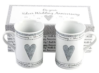 25 Wedding Anniversary Gift.25th Silver Wedding Anniversary Gift Set Ceramic Mugs By Haysom Interiors