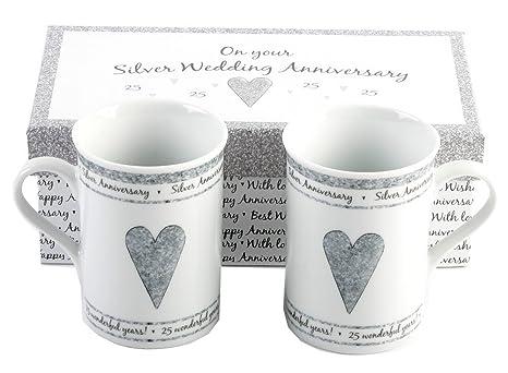 Amazon 25th Silver Wedding Anniversary Gift Set Ceramic Mugs