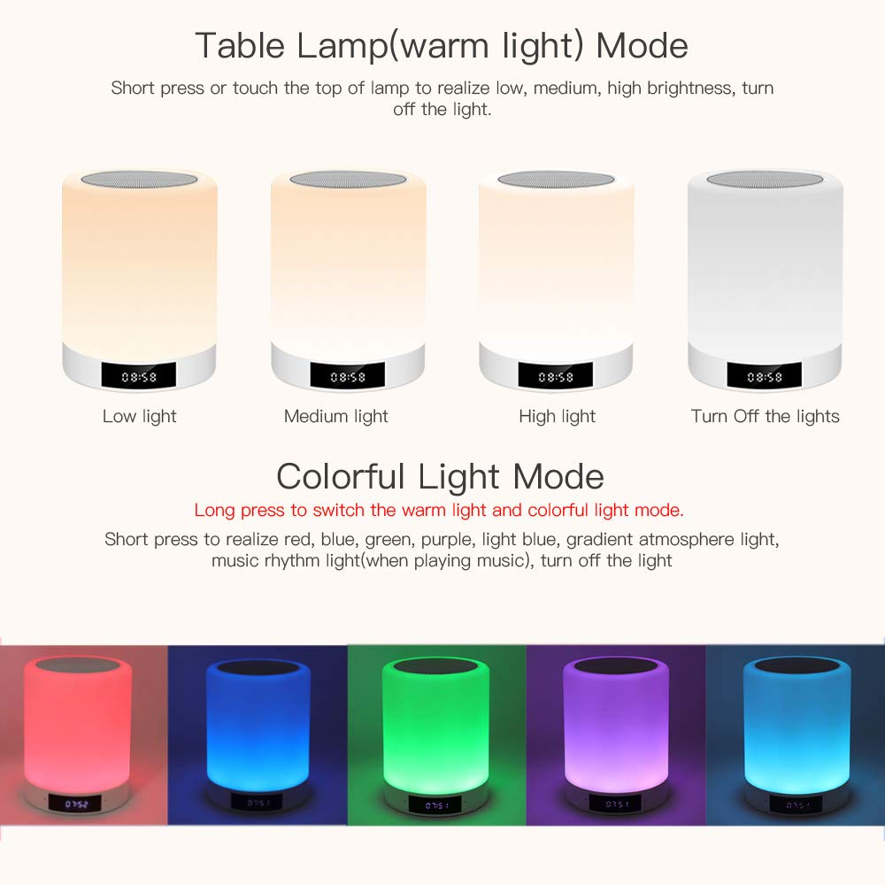 Night Lights Bluetooth Speaker, Ranipobo Wireless Stereo Speaker with Alarm Clock, MP3 Music Player, FM Radio, Touch Control LED Lamp Dimmable Warm Lights & 7 Colors Themes for Kids, Party, Bedroom