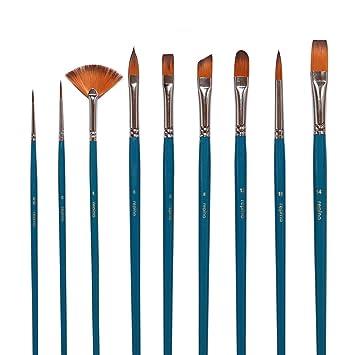 6 Künstlerpinsel Set Katzenzungenpinsel Fächerpinsel Schrägzieher Spitzpinsel
