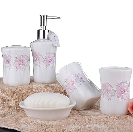 JynXos Romantic Pink Sunflower Bathroom Accessories 5 Piece Ceramic  Bathroom Set