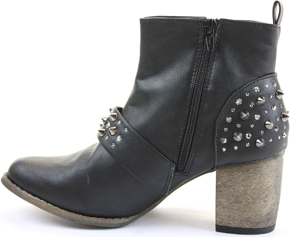 POP Womens Cowboy Booties Low Heels