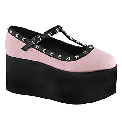 Summitfashions Womens Pink and Black Shoes Two Tone T Strap Shoes Studs 3 1//4 Inch Platform