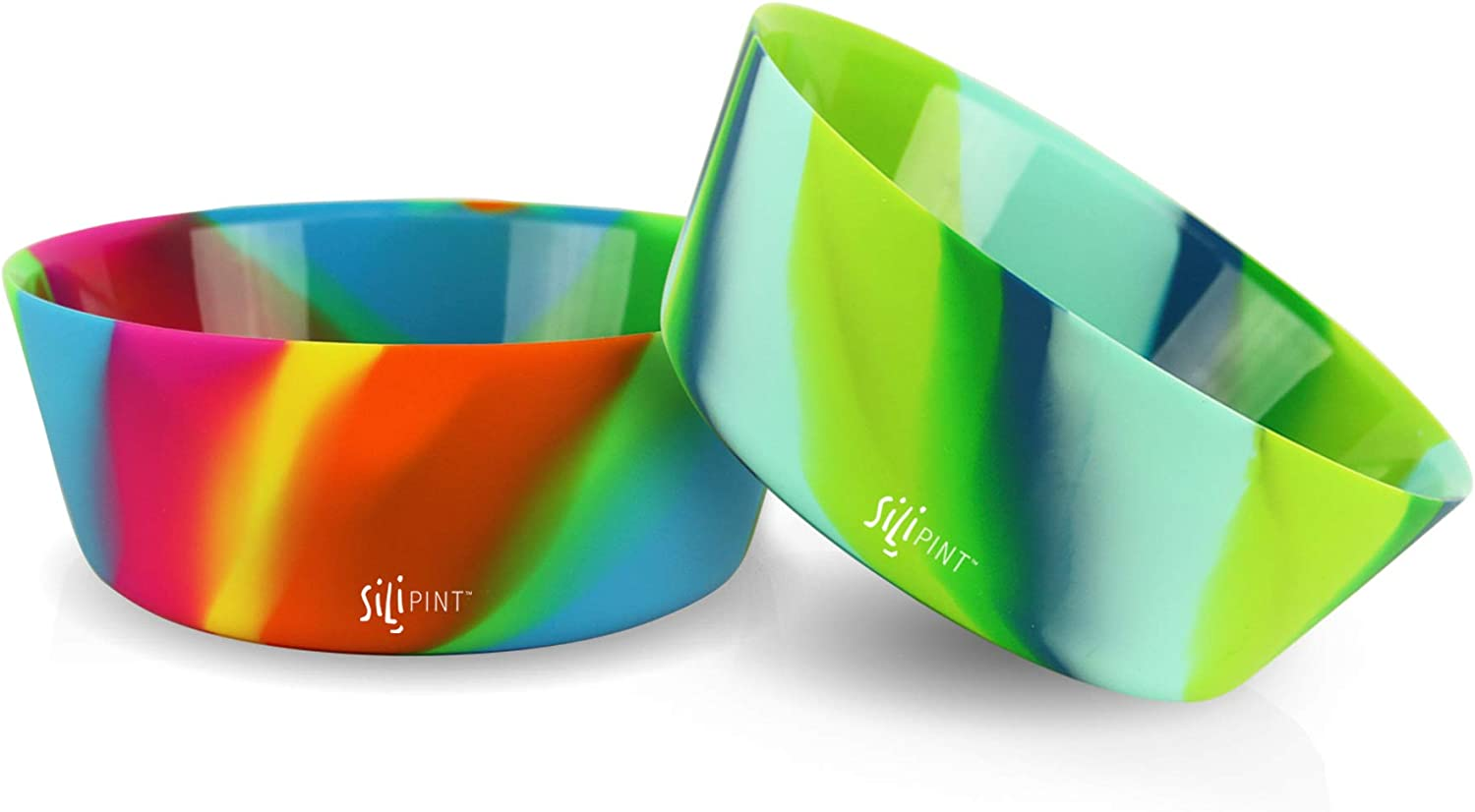 Silipint Silicone Bowl Set, U.S. Patented, BPA-Free, Unbreakable, Flexible, Microwave Safe, Oven Safe, BBQ Safe, Indoor and Outdoor Use (2-Pack Hippy Hop, Sea Swirl)