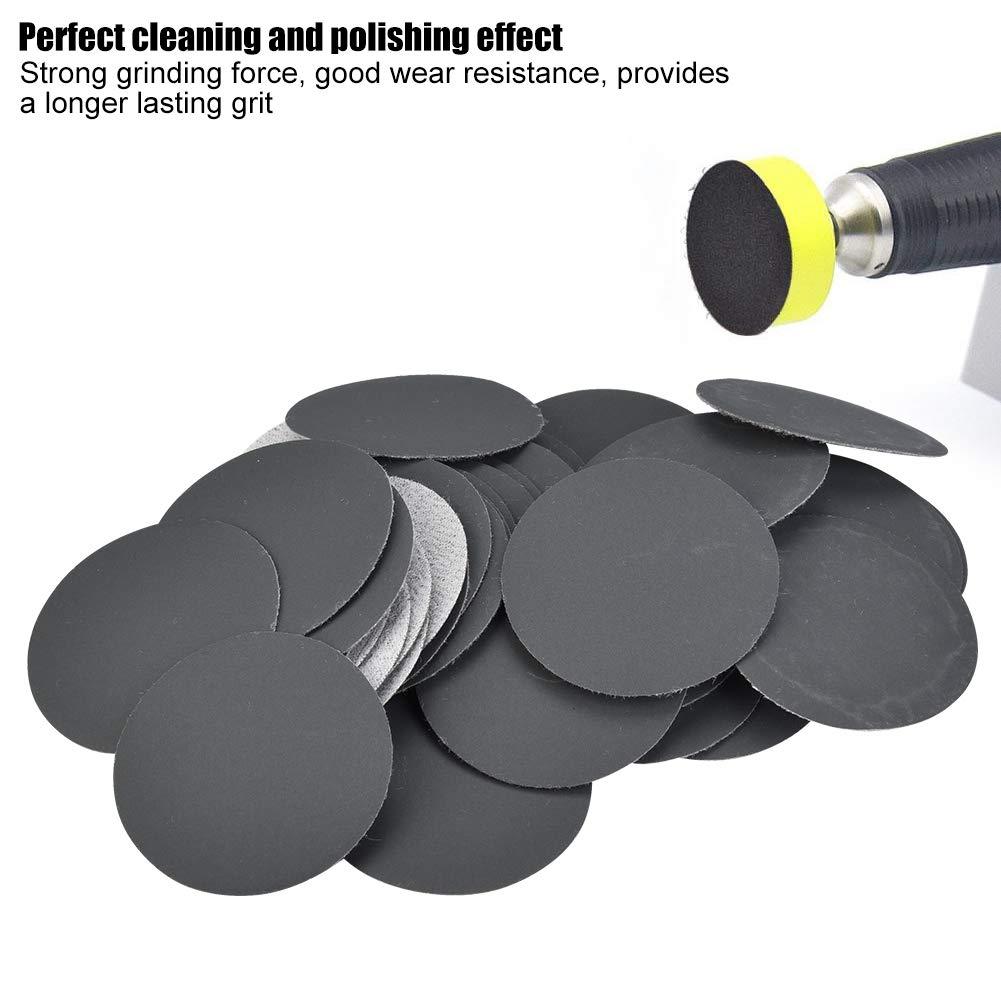 400# Discos de lijado Almohadillas 50mm Papel de lija Surtido Lijado de papel Papel de lija diferente Granularidad 50pcs para lijadora orbital al azar