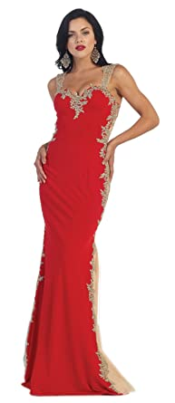 May Queen MQ1297 Red Carpet Evening Gown (8, Red/Gold)