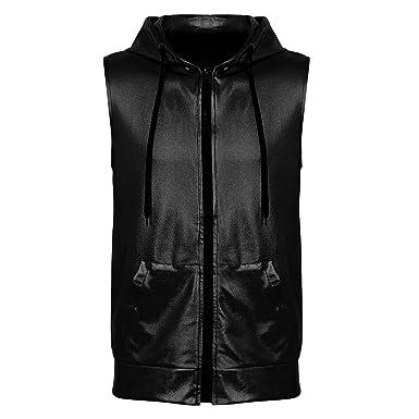 Men/'s Sleeveless Vest Coat Hoodie Tops Metallic Shiny Clubwear Zipper 4 Pockets