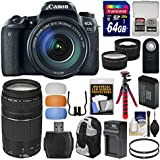Canon EOS 77D Wi-Fi Digital SLR Camera & EF-S 18-135mm IS USM Lens with 75-300mm Lens + 64GB Card + Backpack + Battery & Charger + Tripod + 2 Lens Kit