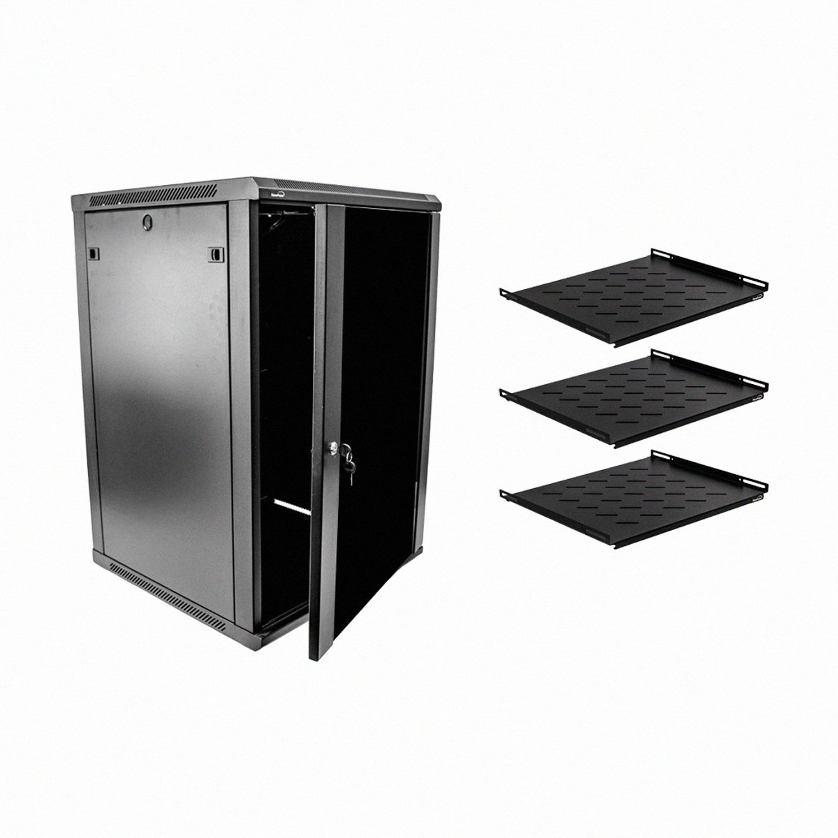 Navepoint 18U Deluxe IT Wallmount Cabinet Enclosure 19-Inch Server Network Rack With Locking Glass Door 24-Inches Deep Black With Shelves