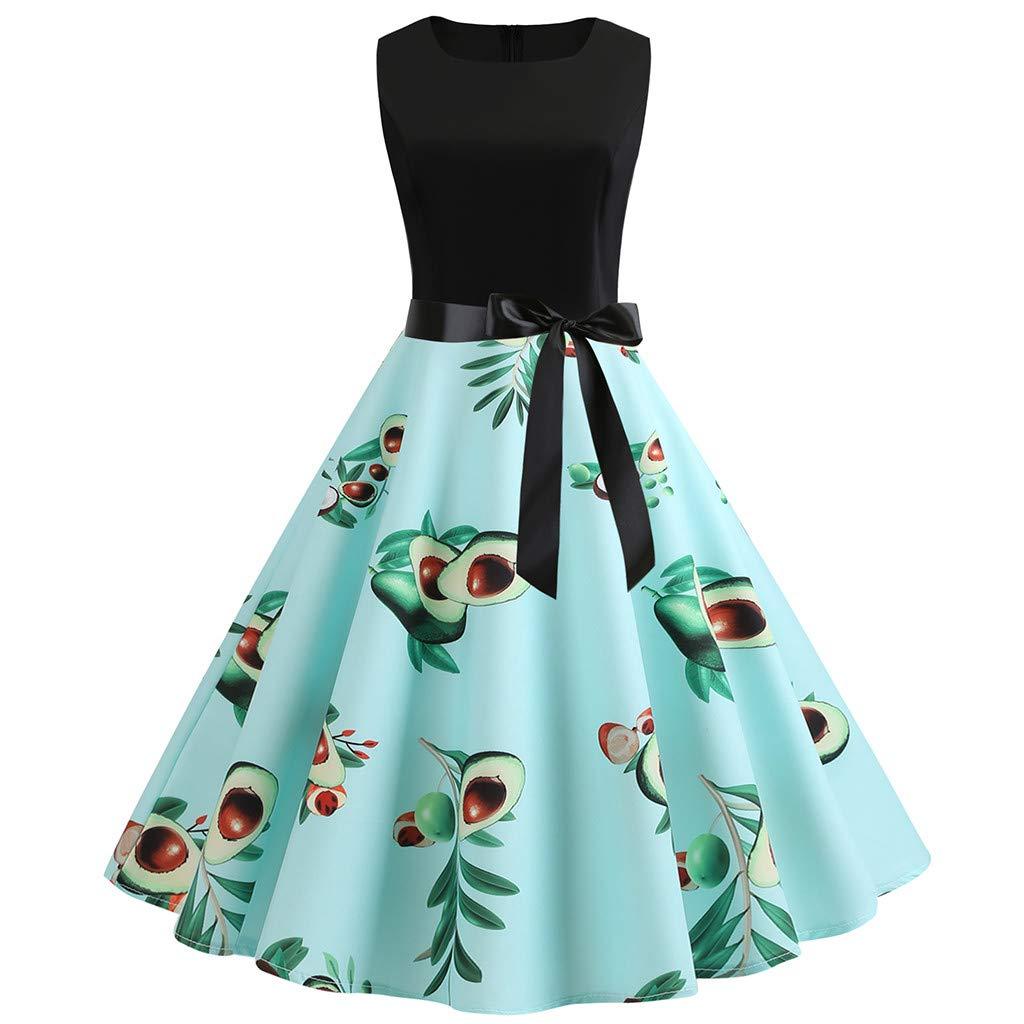 Women Vintage 1950s Retro Sleeveless O Neck Print Evening Party Prom Swing Dress Euone Dress Clearance
