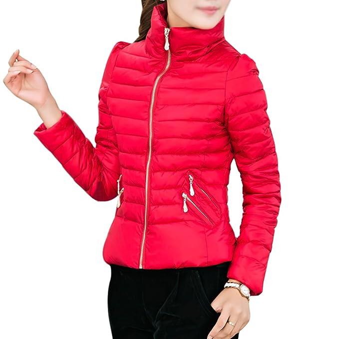 SODIAL Abrigos de Invierno para Mujer Chaqueta Delgada con Charretera Cremalleras de Oficina Abrigo para Mujer Rojo XL: Amazon.es: Ropa y accesorios