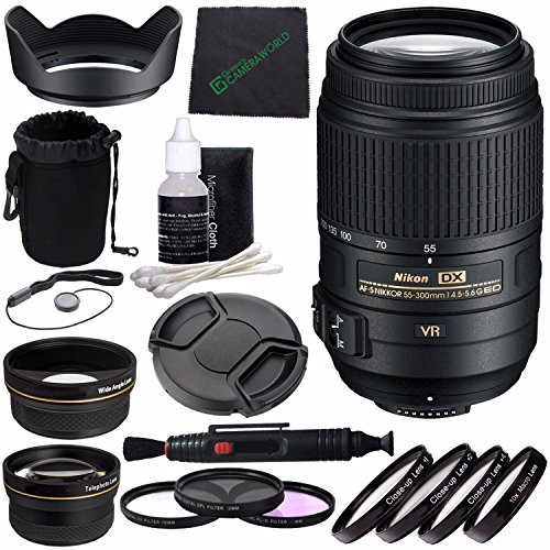 Nikon AF-S DX NIKKOR 55-300mm f/4.5-5.6G ED VR Lens + 58mm 3 Piece Filter Set (UV, CPL, FL) + 58mm +1 +2 +4 +10 Close-Up Macro Filter Set with Pouch + Lens Cap + Lens Cleaning Pen Bundle