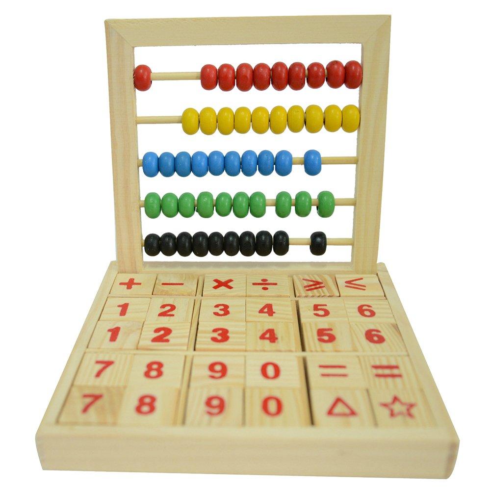Hugestore in legno legno Abacus Soroban da scrivania per bambini con perline colorate matematica giocattoli