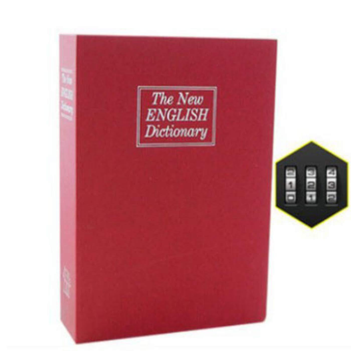 guang Simulated English Dictionary Security Diversion Secret Hidden Book Piggy Bank Medium Storage Box Password Box,Red