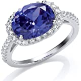Jewelco London Rhodium Plated Sterling Silver Purple and White Oval and Round Brilliant Cubic Zirconia Solitaire Ring
