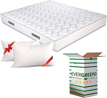 Evergreenweb - Colchón doble o individual de espuma visco-elástica, 20 cm de alto, ortopédico, revestimiento efecto masaje, tela transpirable y ...