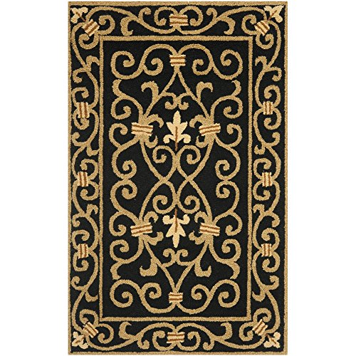 Safavieh Chelsea Collection HK11A Hand-Hooked Black Premium Wool Area Rug (2'6