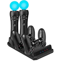 Charger for PS Move Controller/ PS4 Controller Charger, Keten Charging Dock Station for PlayStation 4 Controllers + PS4 / PSVR Move Motion Controllers with LED charge indicator