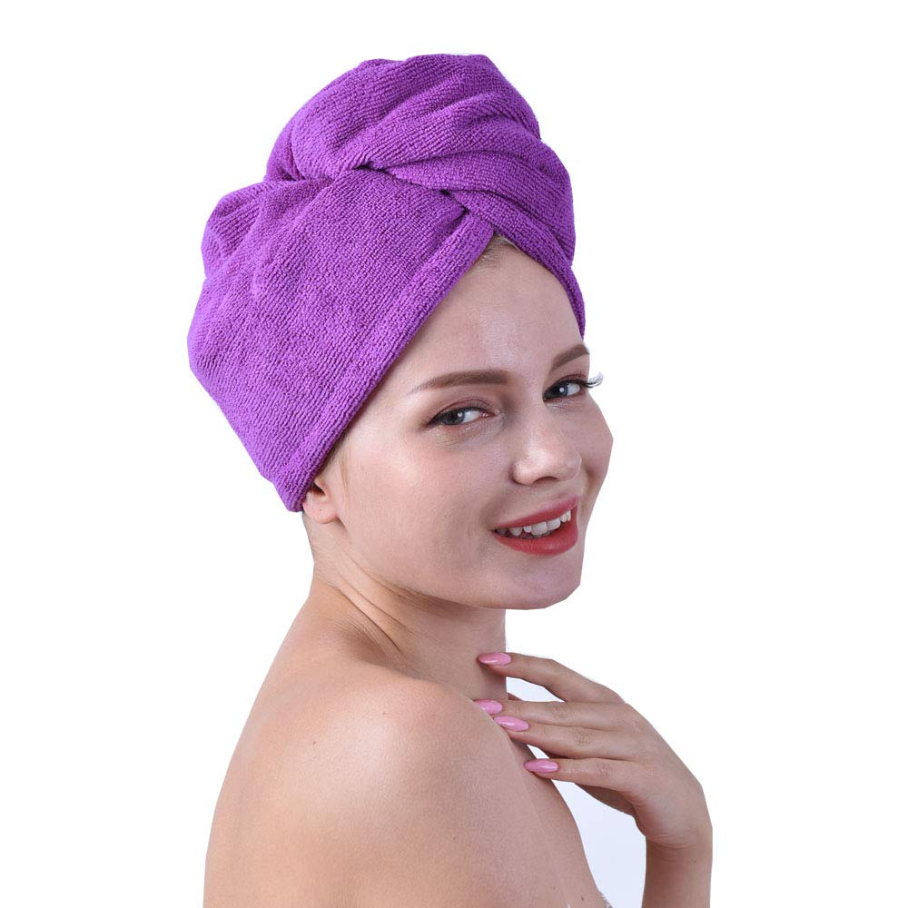 RAYKER Microfiber hair drying wrap towel extra-heavy absorbent hair turban spa towel (purple) by RAYKER