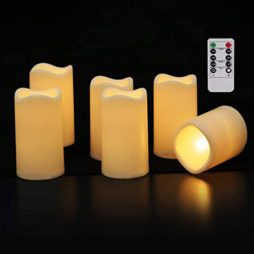 Mingfuxin Upgraded Waterproof Flameless Candles Flickering with Remote and Timer, Battery Operated Led Candles for Home Party Wedding Decoration Candles Resin, 6 Pack, 3 x 4.5 Ivory