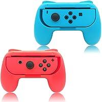Sanbee Kit de Empuñaduras para Mandos Joy-Con de Nintendo Switch, Hand Grips de Diseño Ergonómico, Juego de Manijas para Controles - Azul y Rojo