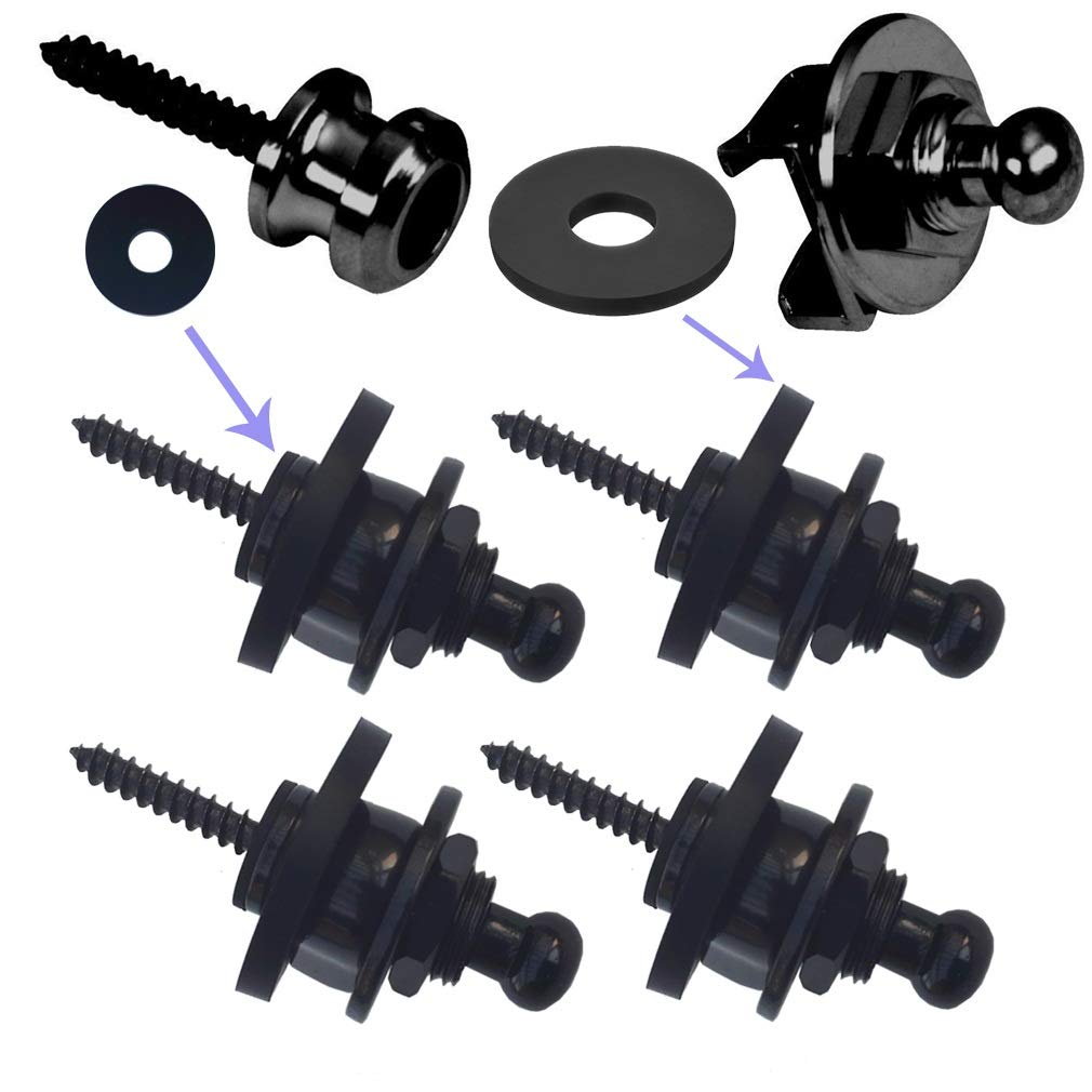 Guitar Strap Lock Buttons System, Guitar Strap Locks Blocks Locking Button,Leather Bass Guitar Straps Locks Acoustic Electric Lock Metal Strap Buttons Screws Sets AnyBack Black Chrome 2 Pair