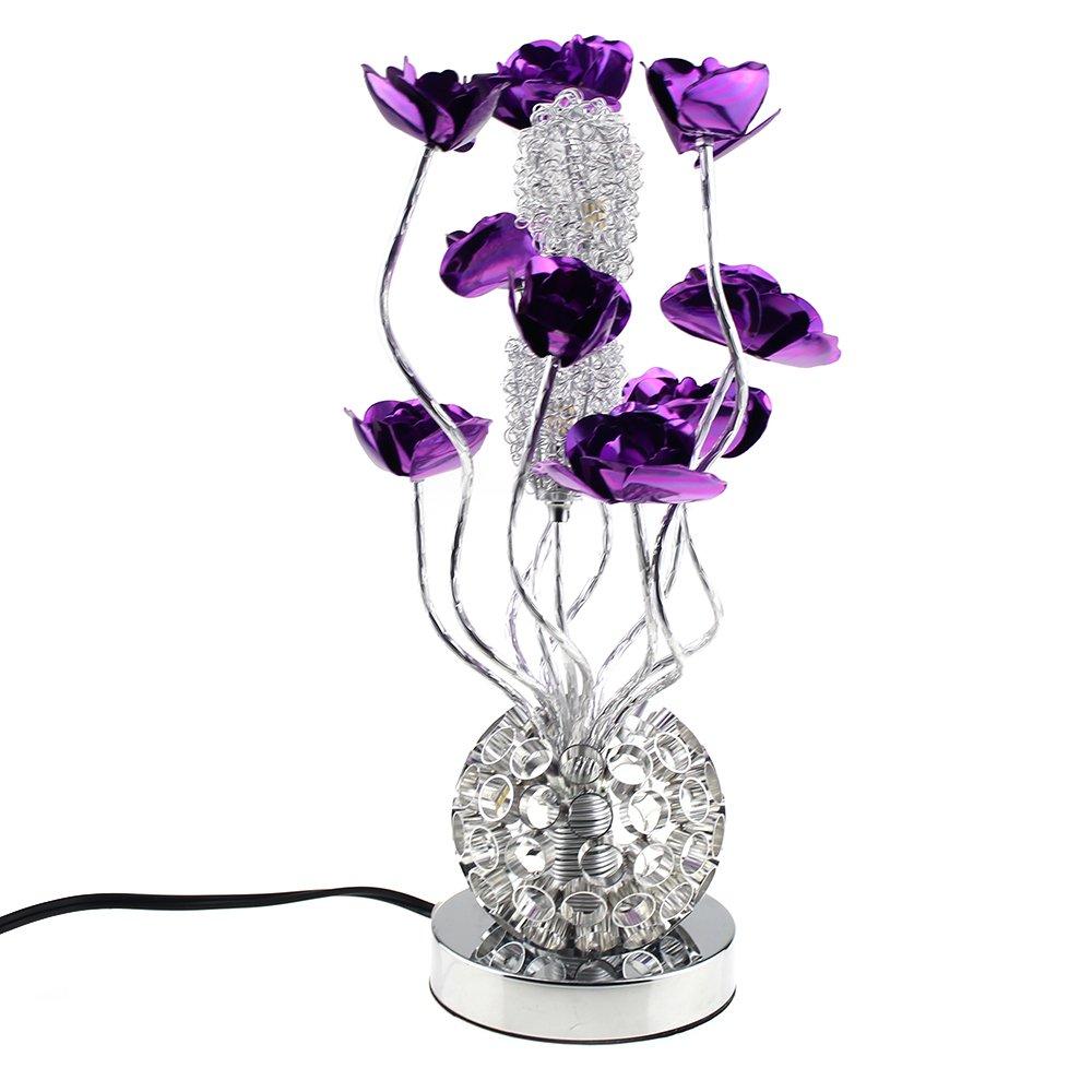 Escomdp Handbuch Aluminium Lila Blumen Blumen Blumen Wohnzimmer Schlafzimmer Dekor Rostschutz Tischlampe Antiseptische LED Lichtquelle 2ce5cb