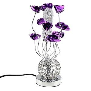 Escomdp Fleurs Pourpres en Aluminium Manuelles Salon Chambre Décor Antirust Lampe de Table Antiseptique LED Source de Lumière