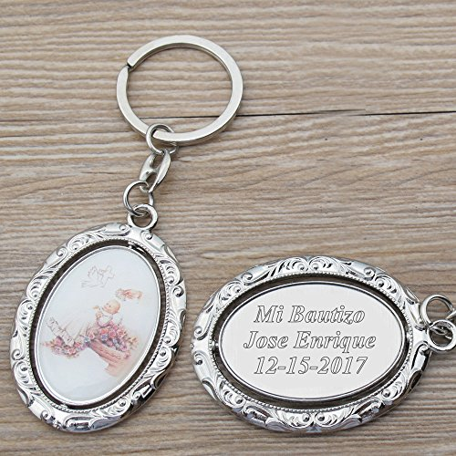 Personalized Spinning Baptism Keychain Favor (12 PCS) -Engraved Metal Key Ring Christening/Bautizo Customized Gift for Guests with Gift Bag