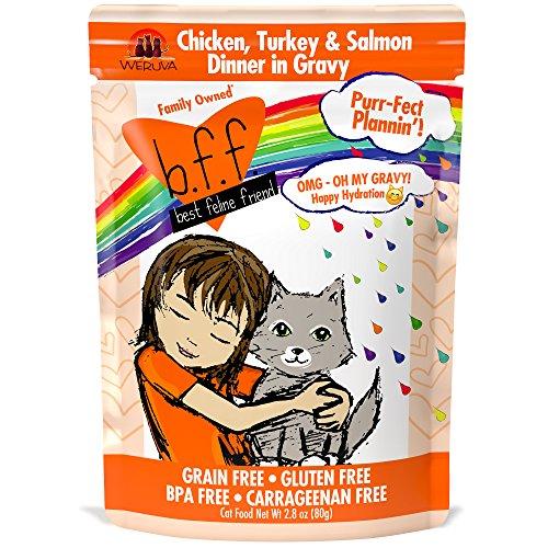 Weruva Grain (B.F.F. OMG - Best Feline Friend Oh My Gravy!, Purr-Fect Plannin'! with Chicken, Turkey & Salmon in Gravy Cat Food by Weruva, 2.8oz Pouch (Pack of 12))