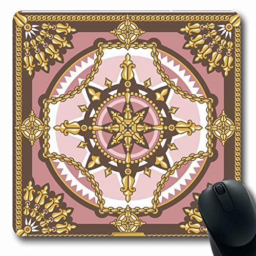 (Ahawoso Mousepad Oblong 7.9x9.8 Inches Geometrical Pink Scarf Pattern Head Abstract Border Western Chain Floral Gold Kerchief Design Jewelry Office Computer Laptop Notebook Mouse Pad,Non-Slip Rubber)