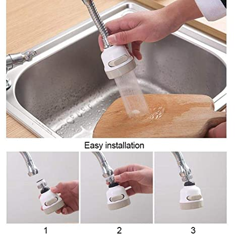 FOONEE Movable Kitchen Faucet Tap 3 Modes Adjustment Splash Filter Nozzle Faucet Water Saving Device 360 Degree Rotary Faucet,Anti Splash Filter Adjustable Aerator Diffuser Sprayer
