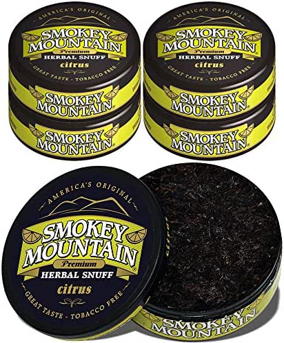 Smokey Mountain Herbal Snuff - Citrus - 5 Cans - Nicotine-Free and Tobacco-Free - Herbal Snuff - Great Tasting & Refreshing Chewing Tobacco Alternative